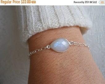 Christmas in July SALE Dainty Bracelet, Moonstone Bracelet, Layering Jewelry, Sterling Silver,Minimalist Bracelet, Healing Stone, Gemstone J