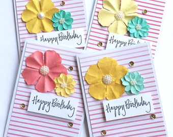 Pink Stripe & Floral Birthday Cards **READY TO SHIP**