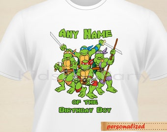 Teenage Mutant Ninja Turtle Iron on  - TMNT Any Name of the Birthday Boy Iron On  - Personalized - Birthday Party Printable