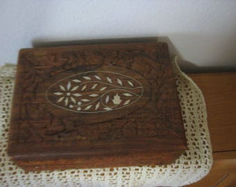 Vintage Carved Floral Wood Jewelry Storage Box