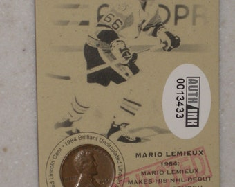 new just in mario lemieux Authenticated Ink Coin Card