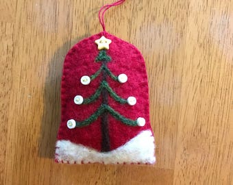 Wonderful Needle Felted Tree With Star And Button Decorations Christmas Ornament On Arch Shape