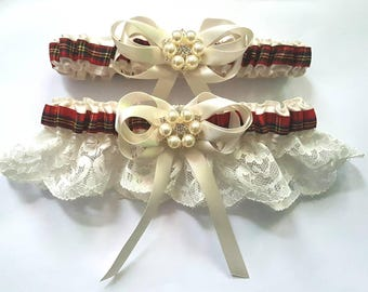 Scottish Classic Tartan Bridal White or Ivory Satin/Satin and Lace/Garter Set-choose your own Tartan