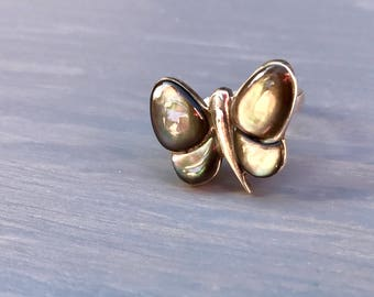 Sterling Butterfly Ring Abalome Paua Shell Vintage Fine Jewelry Gift for Her