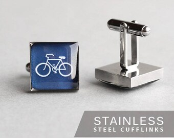 Bicycle cufflinks, Stainless steel cuff link, Blue bike cufflink, Sport cufflinks, Wedding cuff links, gift for him, mens gift, square cuff