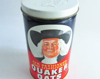 Vintage Quaker Oats Tin Limited Edition 1982 Collectible Kitchen Decor Kitchen Storage