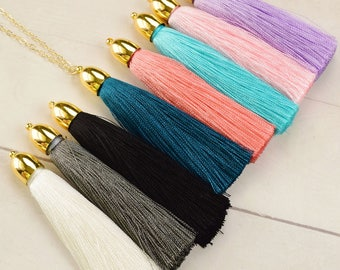 Silk Tassel Necklace Gold Tassel Necklace for Women - Tassel Jewelry - Trendy Necklace - Boho Necklace