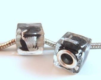 3 Beads - Black Silver Cube Lampwork Glass European Charm Bead E0924