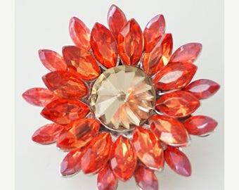 1 PC 18MM Orange Yellow Rhinestone Flower Silver Candy Snap Charm KB8676 Cc0385