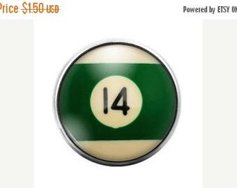 Pool Ball - 18MM Glass Dome Candy Snap Charm GD0249
