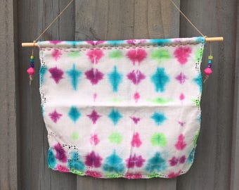 Wall hanging hand dyed vintage upcycle pink green blue purple