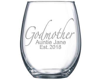 The Godmother Sandblasted Stemless Wine Glass