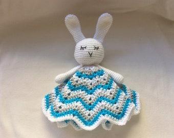 Handmade Crochet Bunny Rabbit Lovey / Comforter / Blanket