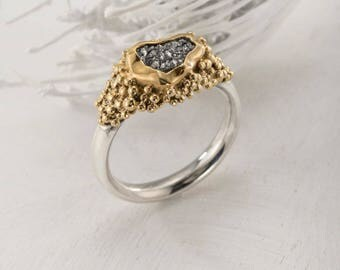 Unique Large Raw diamond, Grey Rough Diamond Ring, Braided Engagement Ring, Fine Gold  Jewelry,Solitaire Engagement Ring, Raw Stone Ring