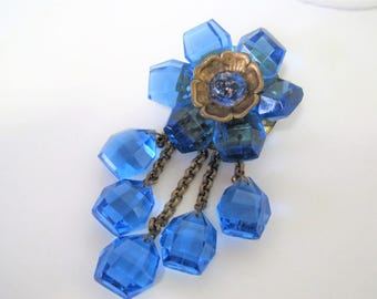 Blue Glass Flower Brooch - Sapphire Glass on Brass - Dangle with Confetti Center - Glass Dangles