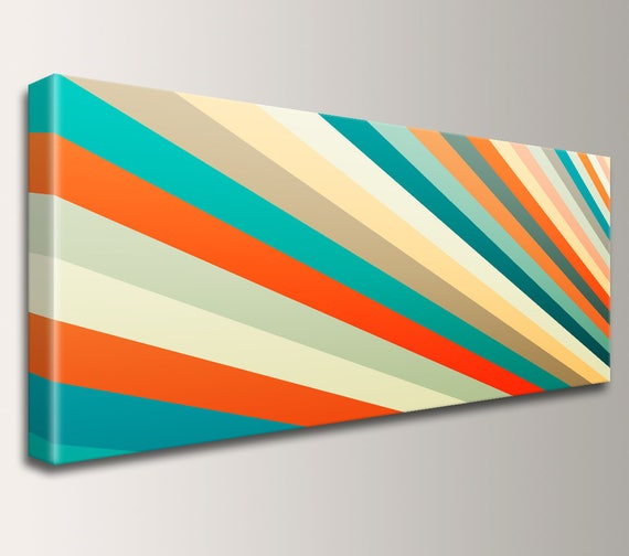 "Mid Century Art, Ultra-Wide Panorama, Retro Decor, Modern Art - Teal, Orange, Yellow, Stripes - Canvas Print, Modern Wall Decor - ""Daybreak"""