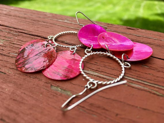 "Hot Pink ""Simply Chandelier"" Mussel Shell Earrings"