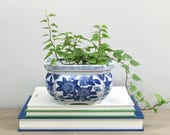 Vintage Blue White Planter Chinese Orchid Succulent Planter Pot Chinoiserie Decor