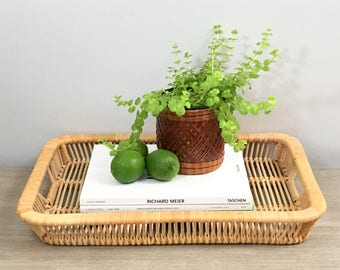 Vintage Rattan Tray Bamboo Serving Tray Franco Albini Style Ottoman Tray Coastal Jungalow Decor