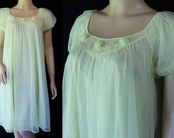 60s Gotham Waltz Gown, Nightie, Nightgown, Mad Men Lingerie, Lime Green