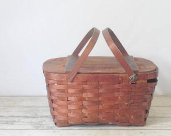 Vintage Picnic Basket Woven Wood Picnic Basket Baskerville? Putney Vermont