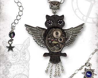 Night Owl Steampunk Necklace - The Mad Scientist Collection by Za Dee Da - Nighty Nighttime  Hoot Owl