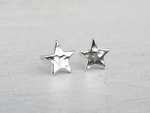 Silver Star Stud Earrings - Hammered Finish - Sterling Silver