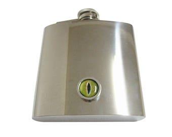 Bordered Green Reptile Eye Design 6 oz. Stainless Steel Flask