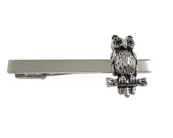 Silver Toned Owl Bird on Branch Square Tie Clip