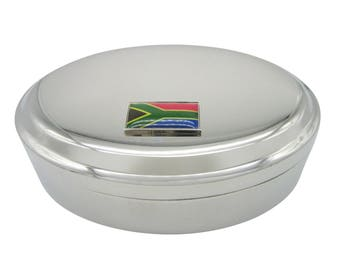 Thin Bordered South Africa Flag Pendant Oval Trinket Jewelry Box
