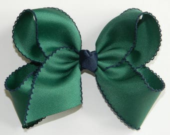 Forest Green & Navy Extra Large Moonstitch Hair Bow - School Uniform Hair Bow, Moonstitch Hair Bow, Blackwatch Hair Bow, Moonstitch Ribbon
