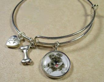 Schnauzer Bangle, Schnauzer Bracelet, Schnauzer Jewelry, Gray Miniature Schnauzer Gifts, Gifts for Schnauzer Mom, Schnauzer Mom Gifts