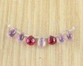 Mixed Raspberry Quartz & Amethyst Briolettes Gemstone Beads - Wholesale - Destash Lot - Sale - Mixed Gems
