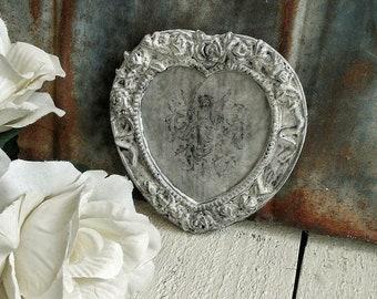 Ornately Framed Vintage Angel Image on Zinc, Hand Painted Heart Frame