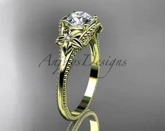 14k yellow gold diamond unique engagement ring ADLR375