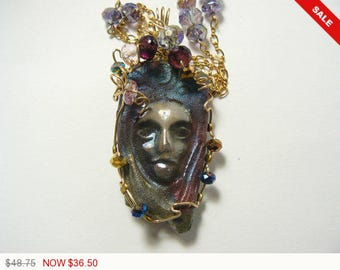 """Raku face wire wrapped jewelry in 14k gold fill wire with 21"""" handmade chain necklas by Shirl (w6361)"""