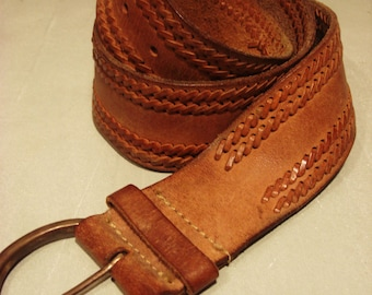 Vintage Honey Tan Leather Belt With Double Side Braiding
