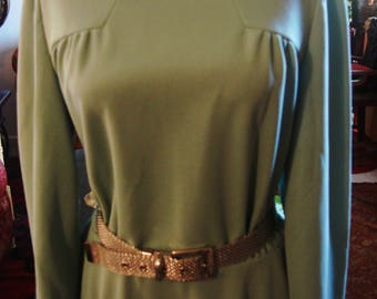 Vintage 1970 Classic Pastel Green Fred Rothschild Knit Dress