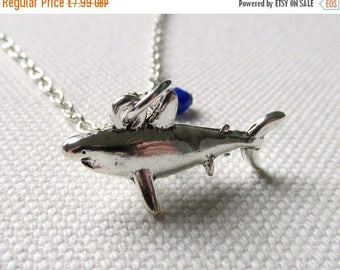 Shark Necklace Animal Charm Necklace Silver Kitsch Jewelry Blue Bead Sea Creature Ocean