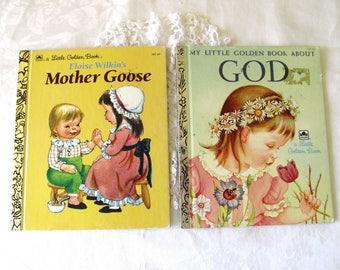 Vintage Eloise Wilkin's Little Golden Books, Child's Religious Book, Mother Goose, Illustrator Eloise Wilkins Collectors Children's Books,