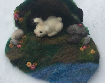 Needle Felted Bunny and Playmat