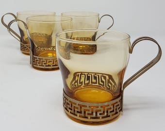 "1970s Vintage Libbey ""Greek Key"" Set of 4 Amber Espresso - Coffee Cups With Brass Colored Metal Handles"