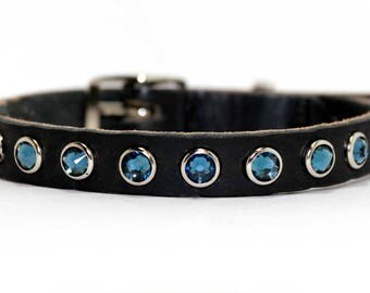 "Small Leather Dog Collar with Large Montana Blue Swarovski Crystals / Chihuahua Yorkie Dog Collar / 1/2"" Dog Collar /Blue Dog Collar"