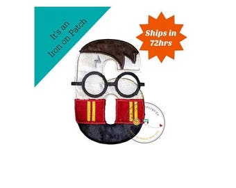 ON SALE NOW Boy Wizard birthday number 6 inspired by Harry Potter machine embroidered fabric iron on no sew patch,  Barn yard patch for kids