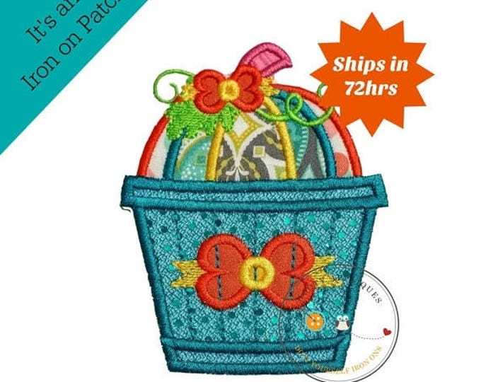 ON SALE NOW Whimsical bucket of pumpkins - large iron embroidered fabric applique patch embellishment- ready to ship