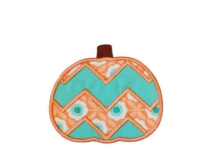 ON SALE NOW Coral and teal chevron pumpkin fabric iron on applique- fall no sew embroidered patch- ready to ship