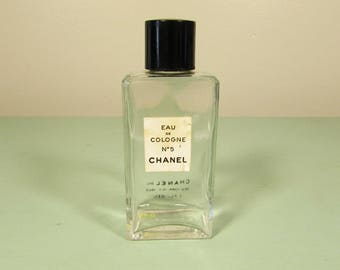 Chanel No 5 Perfume Bottle - Vintage Eau de Cologne Black Lid