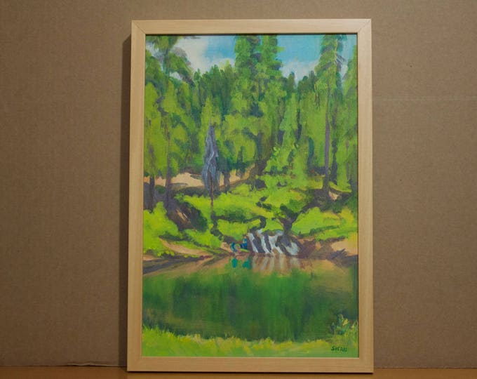 Fishing Painting Wickiup Reservoir Oregon Original by Sherri McDowell Artist