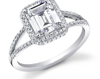 2 ct Emerald Cut Diamond Engagement Ring H, VVS GIA Certified 14k White Gold
