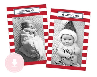 INSTANT DOWNLOAD 12 Month Nautical Photo Banner (Red Nautical Party, 1st Birthday, Nautical Party, Printable Photo Banner, Anchor)